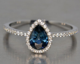 Natural Blue Sapphire Silver Ring (White Gold Coated)