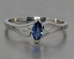 Natural Blue Sapphire and Silver Ring (White Gold Coated)