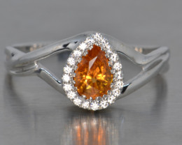 Natural Spessartite Garnet, Cz and Silver Ring (White Gold Coated)