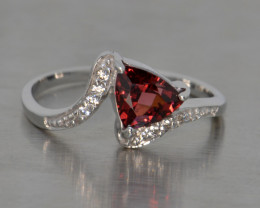 Natural Rhodolite Garnet, Cz and Silver Ring (White Gold Coated)