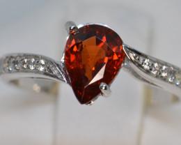 Natural Rhodolite Garnet Silver Ring (White Gold Coated)