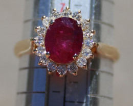 Hunza Ruby 2.94ct with Diamonds, 18K Solid Gold Cocktail Ring, Certified an
