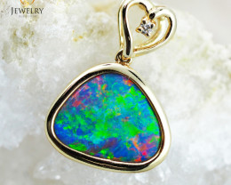 Handmade Designer Doublet Opal 14k Yellow Gold Pendant with Diamond  OPJ103