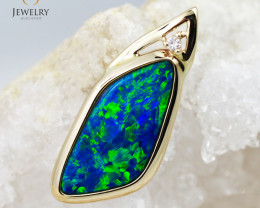 Handmade Designer Doublet Opal 14k Yellow Gold Pendant with Diamond OPJ105