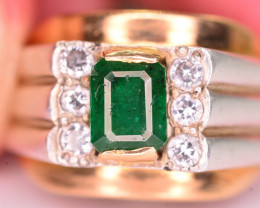Stylish Modern 1 Ct Natural Emerald And Diamond  Gold And Silver ~ Ring