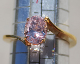 Pink Umba Sapphire 1.50ct 18K Solid Gold Ring, AIGL Certified and Appraised