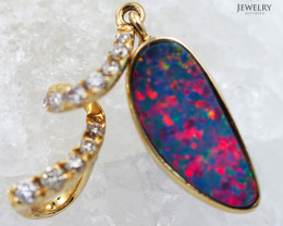 Handmade Designer Doublet Opal 14k Yellow Gold Pendant with Diamond OPJ114