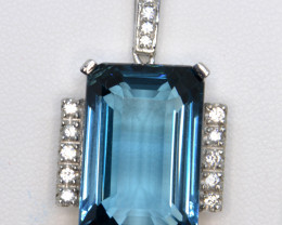 Natural London Blue Topaz, Sapphire and Silver Pendant