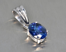 Natural Sapphire and Silver Pendant