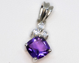 Natural Amethyst, CZ and Silver Pendant