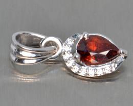 Natural Rhodolite Garnet, CZ and Silver Pendant