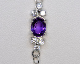 Natural Amethyst, CZ and Silver Bracelet