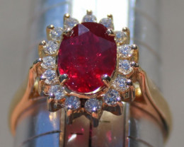 Winza Ruby 2.80ct with Diamonds 18K Solid Gold Ring, Certified and Appraise