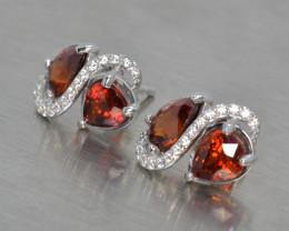 Natural Rhodolite Garnet, Cz and Silver Earrings