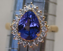 Tanzanite 3.02ct Diamonds 18K Solid Gold Ring, Certified and Appraised, RRS