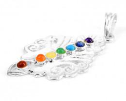 Seven Chakra Silver Pendant