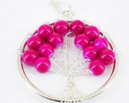 Pink Onyx Tree Pendant