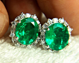 36.89 Ct. Doublet Emerald Earrings - Beautiful