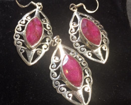 Ruby Earring & Pendant  Sterling Silver set GG 783