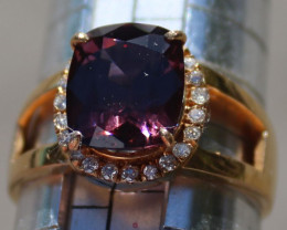 Pink Spinel 3.50ct Diamonds 21K Solid Gold Ring, Certified and Appraised, R
