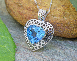 Natural Swiss Blue Topaz Heart 925 Sterling Silver Pendant (SSP0545)