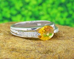 Natural Citrine 925 Sterling Silver Ring Unisex  (SSR0504)