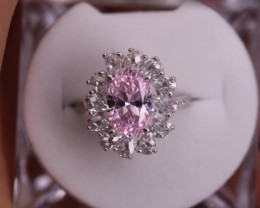 Pink Cubic Zirconium Silver Ring