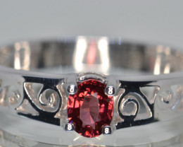Natural Rhodolite Garnet and  Silver Ring