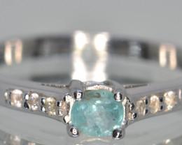 Natural Aquamarine, Sapphire and Silver Ring