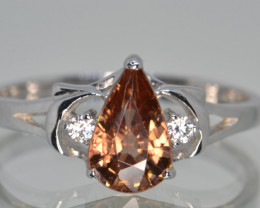 Natural Zircon, Cz and Silver Ring (White Gold Coated)
