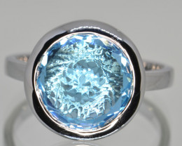 Natural Swiss Blue Topaz and Silver Ring