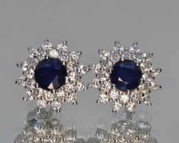 Natural Sapphire, CZ and Silver Earrings