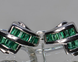 Created Emerald and Silver Earrings
