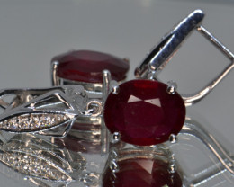 Natural Ruby, CZ and Silver Earrings