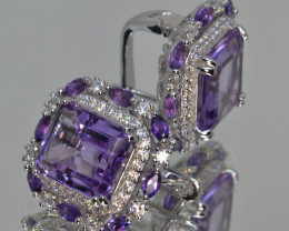 Natural Amethyst, CZ and Silver Earrings