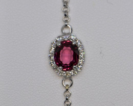 Natural Rhodolite Garnet, CZ and Silver Bracelet