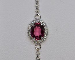 Natural Rhodolite Garnet Silver Bracelet