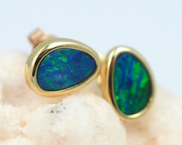 Handmade Designer Doublet Opal  14k Gold Earrings  OPJ144