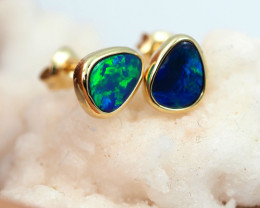 Handmade Designer Doublet Opal  14k Gold Earrings  OPJ145