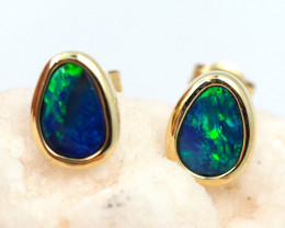 Handmade Designer Doublet Opal  14k Gold Earrings  OPJ146
