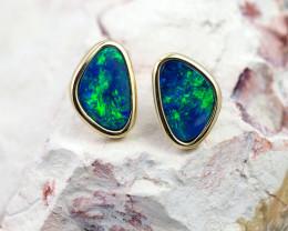 Handmade Designer Doublet Opal  14k Gold Earrings  OPJ147