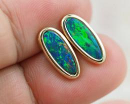 Handmade Designer Doublet Opal  14k Gold Earrings  OPJ148