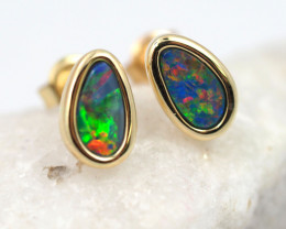 Handmade Designer Doublet Opal  14k Gold Earrings  OPJ149