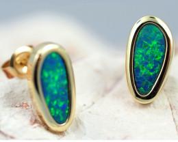 Handmade Designer Doublet Opal  14k Gold Earrings  OPJ150