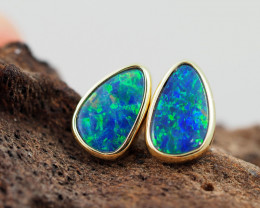 Handmade Designer Doublet Opal  14k Gold Earrings  OPJ151