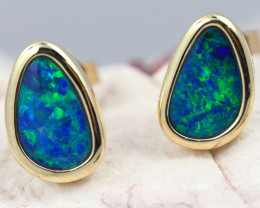 Handmade Designer Doublet Opal  14k Gold Earrings  OPJ152