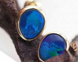 Handmade Designer Doublet Opal  14k Gold Earrings  OPJ153