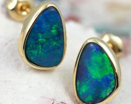 Handmade Designer Doublet Opal  14k Gold Earrings  OPJ155