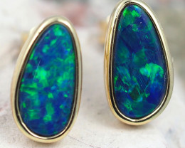 Handmade Designer Doublet Opal  14k Gold Earrings  OPJ156