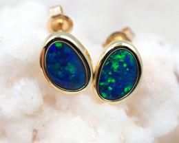 Handmade Designer Doublet Opal  14k Gold Earrings  OPJ157